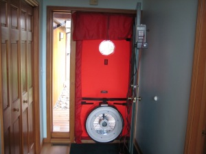 This is a picture of the blower door ready for use.